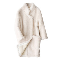 Luxury Brand Womens Real Fur Coat 2018 Fall Winter New Australia Lamb Fur Coats Female Korean Style Long Sleeve Warm Jackets