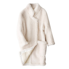 Luxury Brand Womens Real Fur Coat 2019 Fall Winter New Australia Lamb Fur Coats Female Korean Style Long Sleeve Warm Jackets