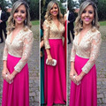 V Neckline Lace Beading Chiffon Bridesmaid Dress Long Formal Gowns Pageant Long Sleeves Fuchsia Wedding Party Dress 2015
