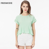 Cute Candy Colors Women Summer Tops Cotton Short Ruffle Blouse Femme Ete 2017 Fashion Mint Green