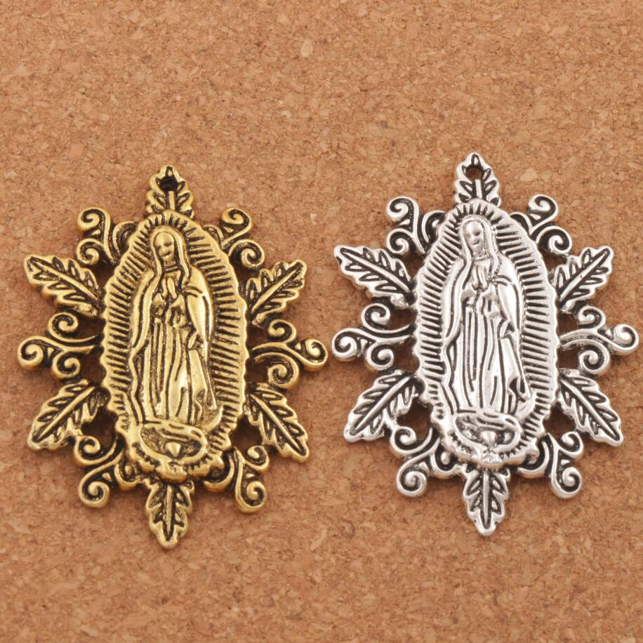 Retro Our Lady of the Holy Scapular Medal Charm Beads 50X37mm 7pcs Antique Silver/Gold Pendant L1790
