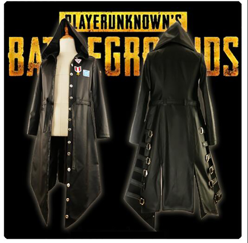 Game PUBG  Playerunknown's Battlegrounds Cosplay Costume Halloween Carnival Long Sleeve Trench PU Leather Punk Coat Custom Made