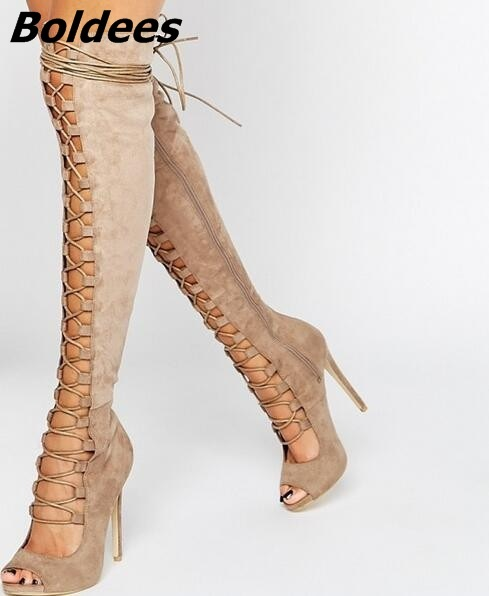 Fashion Suede Black Taupe Lace up Strappy Over The Knee Woman Peep Toe Cut out Gladiator Sandals Boots High Heel Shoes