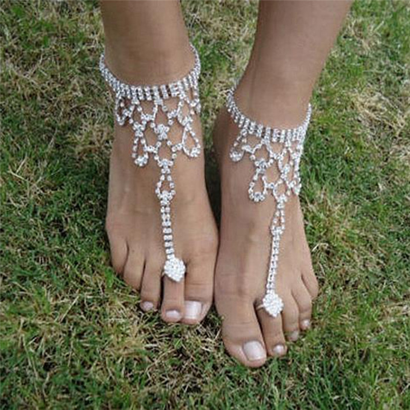 1 Pc Bridal Crystal Beach Barefoot Sandals Foot Toe Anklet ...