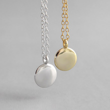 Pure 925 Sterling Silver minimalist geometry Small round coin Necklace creativity Peas Women Silver Chain Necklace roxi minimalist small round pendant necklace women 925 sterling silver necklace geometric karma circle necklace choker collares