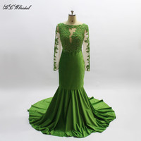 Illusion Long Sleeve Green Mermaid Evening Dress 2018 Sweep Train Beaded Lace Velvet Prom Gowns Graceful