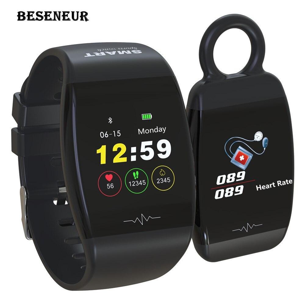 Beseneur P1 Tracker d'activité de Fitness bande intelligente étanche montres Bracelet de pression artérielle Bracelet de Sport pour téléphone Android IOS