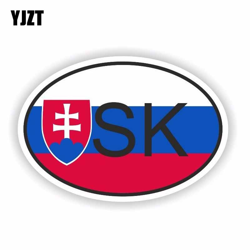 YJZT 12.6CM*8.3CM Slovakia SK Country Code Car Sticker Decal Accessories 6-0255