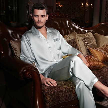 Male 100 silk Long sleeves Two piece suit Pajamas suit