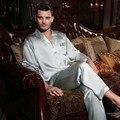 Masculino 100 traje de Pijama de seda de manga Larga traje de Dos piezas