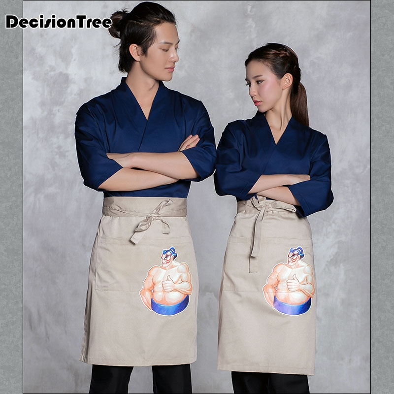 2019 sushi vêtements de travail japon cuisine travail costume poisson motif restaurant service uniforme chef servant