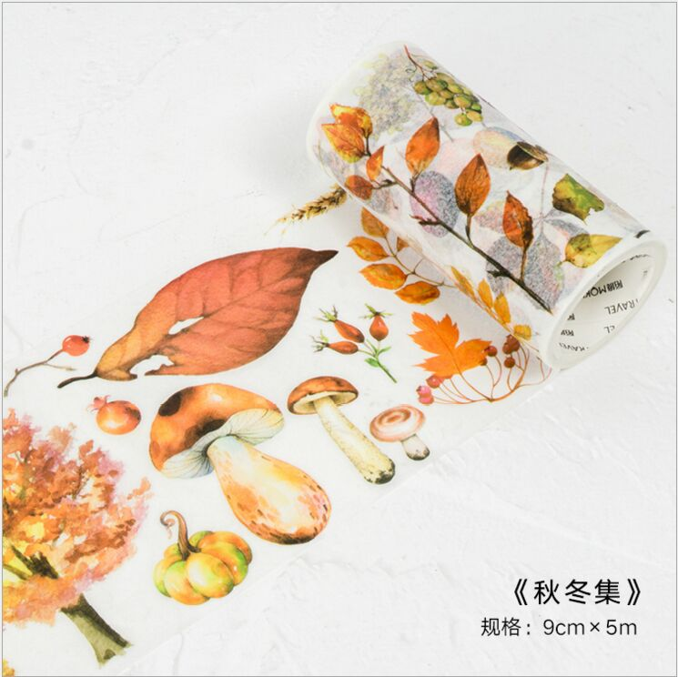 90mm Wide Autumn Winter Season Plants Leaves Decorative Washi Tape DIY Planner Diary Scrapbooking Masking Tape Escolar