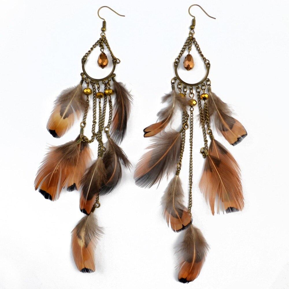Gypsy Hippie Long Brown Feather Earrings Bohemian Boho Feather Festival Party Jewelry Earring For Women brincos