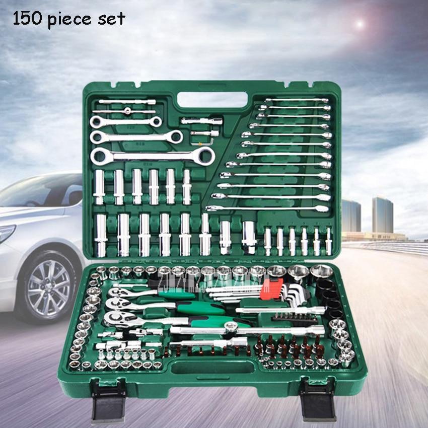 LSQXIGJ 01 121 piezas Juego de herramientas de reparación de automóviles caja de herramientas de llave de hogar Kit de reparación de trinquete herramientas de mano desmontaje de neumáticos - 2