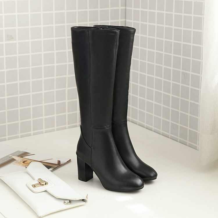 Große Größe 9 10 11-14 oberschenkel hohe stiefel kniehohe stiefel über das knie stiefel frauen damen stiefel seite zipper leder abdeckung