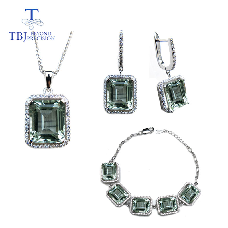 TBJ natural green amethyst gemstone jewelry Necklaces and earrings set in 925 silver gemstone jewelry for