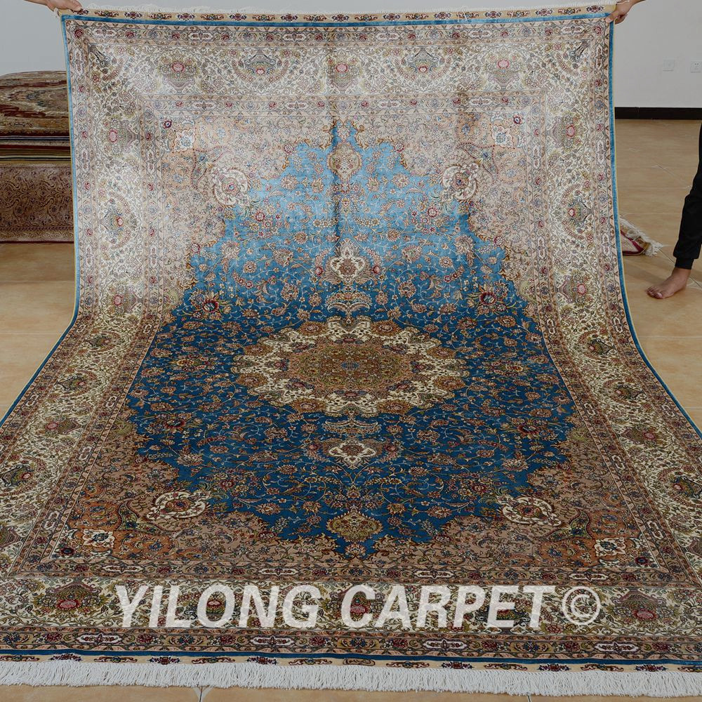 Yilong 6 56 X9 84 Hand Knotted Persian Rugs Sky Blue