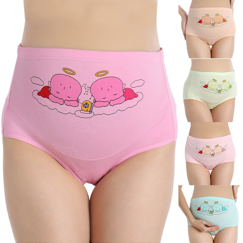1pc Mother Briefs Support Women Underwear Cotton Pregnant Panties High Waist Cartoon Postpartum Briefs Pregnancy Short Pants