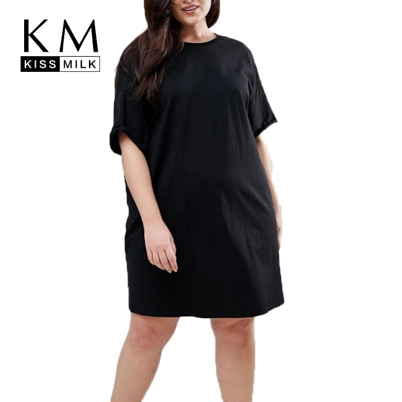 8cf8cf91d69 Kissmilk Plus Size 2018 Women Solid A-Line T-Shirt Dress Large Size  Embroidery