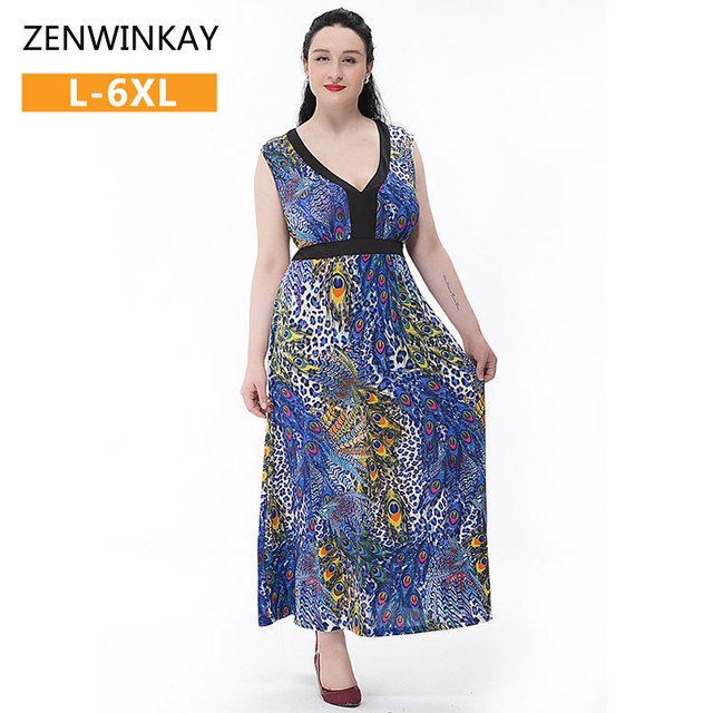 Sundresses Plus Size Boho Womens Dresses Loose Elegant Long Dress
