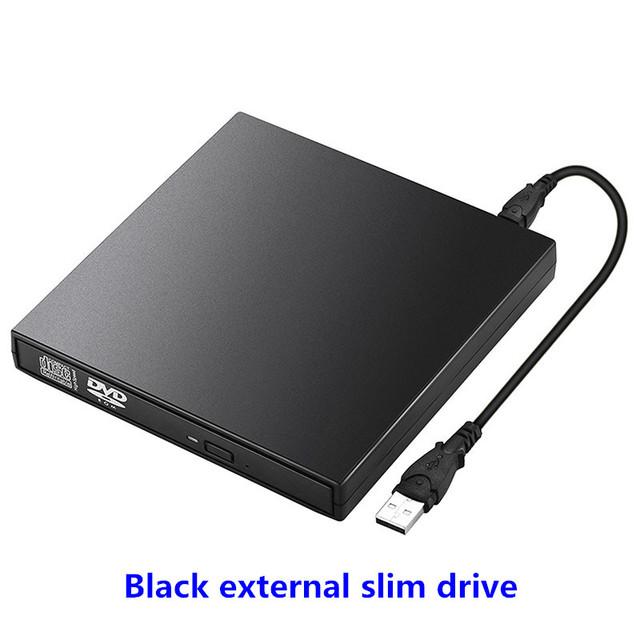 Magro externo Portátil Preto USB 2.0 gravador de DVD Combo CD-RW Burner pc Computador Windows 7/8 Plug and Play