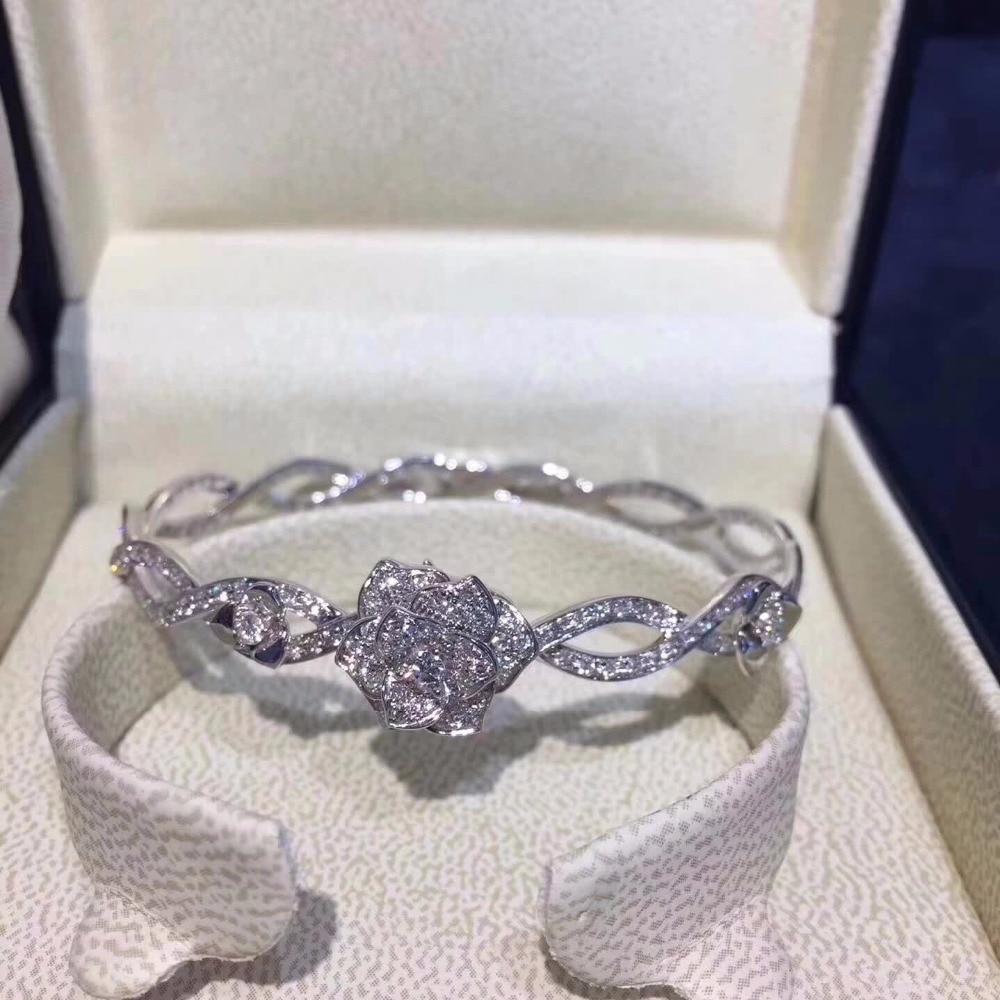 Haute qualité classique argent fleur cristal collier Bracelet ensemble pour les femmes 925 en argent Sterling mode bijoux de mariage sauvage
