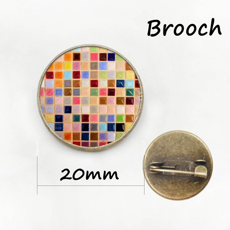 Autism heart antique bronze plated metal pin autism Puzzle Pieces brooches exquisite color mosaic badge women Mandala pins