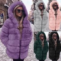 New Women Elegant Faux Fur Coat Fashion Winter casual Warm Luxury Fake Fur coat fluffy Coats Female Hooded Jacket Overcoat