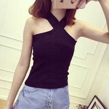 Summer Women V-Neck Slim Bodycon Tank Tops Girl Sleeveless Short Solid T-Shirt Camis Tees