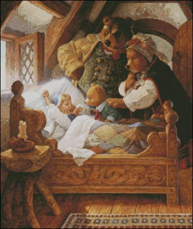 Fishxx Cross Stitch Kit E219 Fairy Tale Artificial Embroidery Blonde Girl and Three Bear European Style Baby Bedroom Painting-in Package from Home & Garden    1