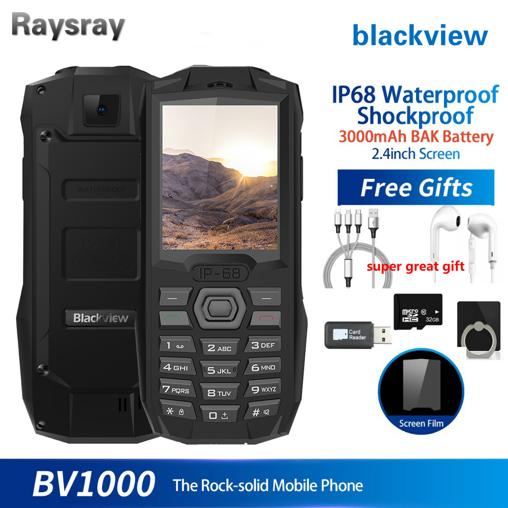 Cellphone BV1000 IP68 Waterproof Shockproof Rugged Mobile Phone 2.4inch MTK6261 3000mAh Dual SIM Mini Cell Phone Flashlight(China)