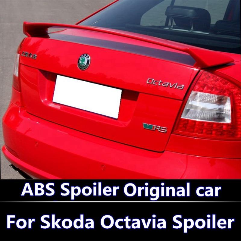цена на For 2007-2014 Skoda Octavia Spoiler High Quality ABS Material Car Rear Wing Primer Color Rear Spoiler For Skoda Modified spoil