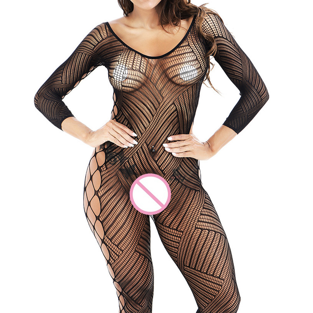 FEITONG Women Sexy Lingerie Fishnet Floral Crotchless Babydoll Nightwear Lingerie Tights Nightwear Lace Women Stocking