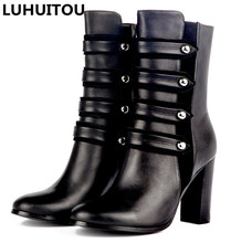 Купить с кэшбэком women`s winter genuine leather spring quality suede fringe ankle boots casual cowboy boots rivet motorcycle shoes tassel boots