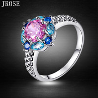 JROSE Beauty Flower Cluster Wedding Pretty Pink Blue Topaz & Sapphire Jewelry 18K White Gold Plated Ring Size 6 to 13 Wholesale