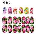1 pcs Flores Coloridas Glitter Nail Art Decalques Cobertura Completa Prego Wraps DIY Salão de Beleza Prego Adesivos Decoração Ferramentas