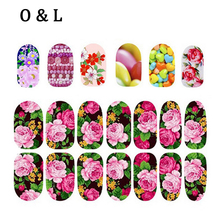 1pcs Colorful Flowers Glitter Nail Art Decals Full Cover Nail Wraps DIY Beauty Salon Nail Stickers Decoration Tools