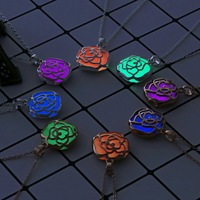 Glowing Luminous Vintage Hollow Rose Gold Silver Color Glow In The Dark Pendant Necklaces Rose Flower Collares For Girl Women