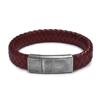 Braided Leather Men's Bracelet with Magnetic Stainless Steel Clasp Bracelets Hot Promotions Jewelry Men Jewelry New Arrivals Metal Color: Red Ancient Silver 1 Length: 16.5cm