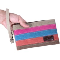 Lecxci Canvas Wristlet Clutch Wallet Coin Change Purse Bag handbags Organiser for Smartphone, Credit Cards