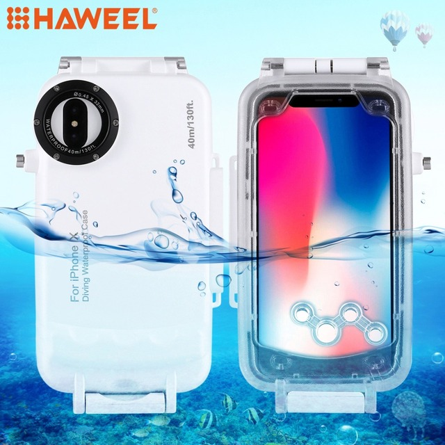 premium selection ec918 f6f4c US $71.41 |HAWEEL Diving Protective Housing For iPhone X Case 40M/130FT  Professional Waterproof Photo Video Underwater Case For iPhone XS-in Fitted  ...