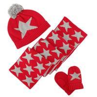 3 Piece/Set Baby Winter Hat Scarf Gloves Set Cute Star Beanie Cap Kids Warm Scarf Infant Toddler Girl Boy Knitted Gloves 0 10Y