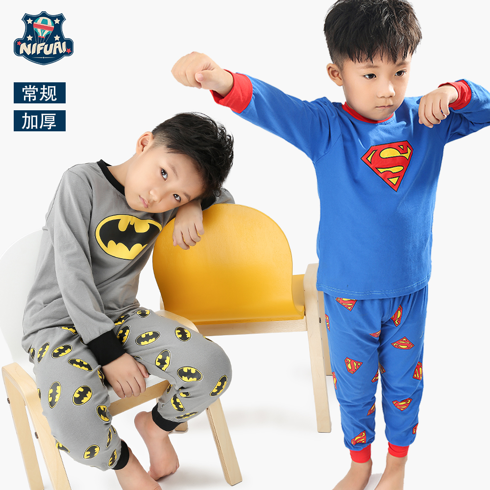 Children's home wear Superman pajamas 2017 new winter Batman long sleeve home suit boy's suit baby boy clothes baby wear 2pc set комплект одежды для девочек 100% 2015 baby home wear