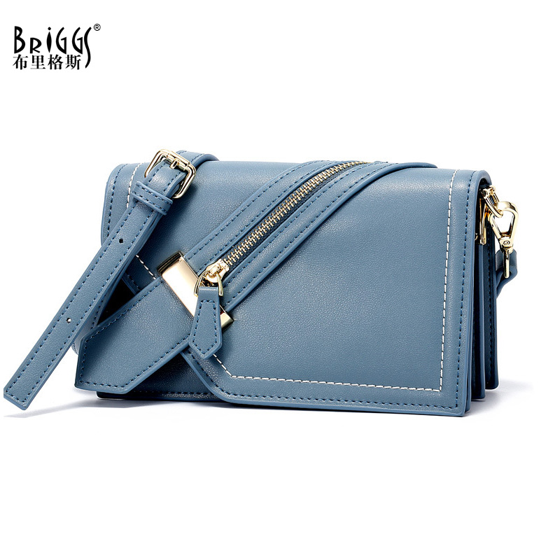 BRIGGS Fashion Small Ladies Messenger Bags Genuine Leather Female Shoulder Bags Women Crossbody Bag For Girl Casyal Flap Bags aelicy cute dog shape children shoulder bag fashion girl shoulder messenger bags baby pu leather ladies crossbody bags small