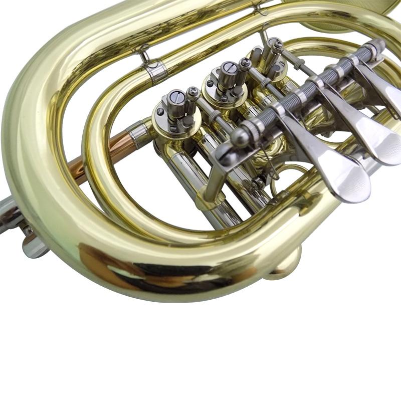 Bb Rotary Cornet Lacquer Finish Geelkoperen cornet trompet met harde - Muziekinstrumenten - Foto 5