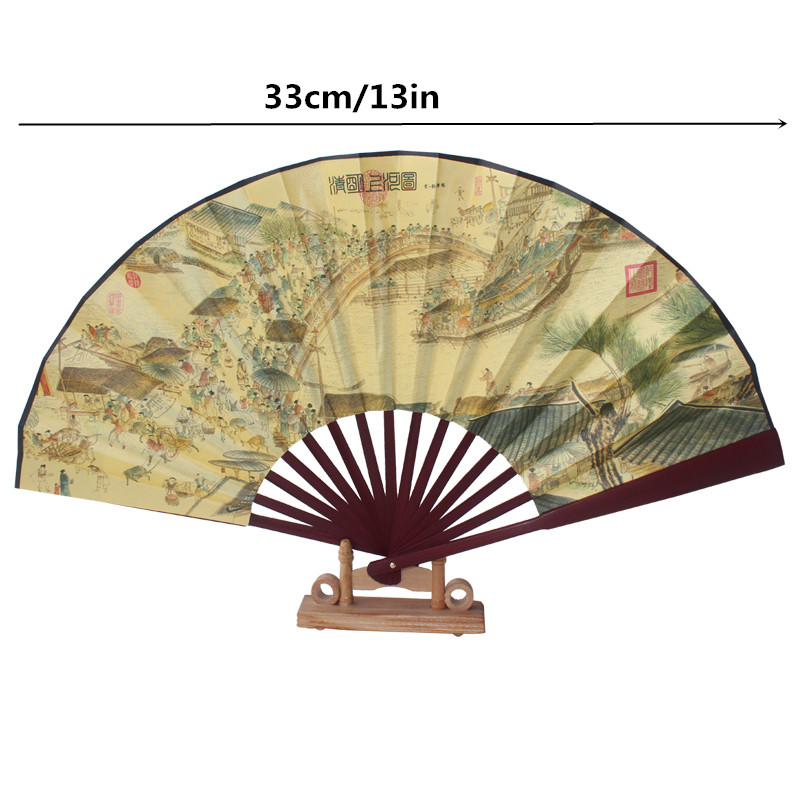 silk cloth double sided design present Chinese bamboo hand fan ...
