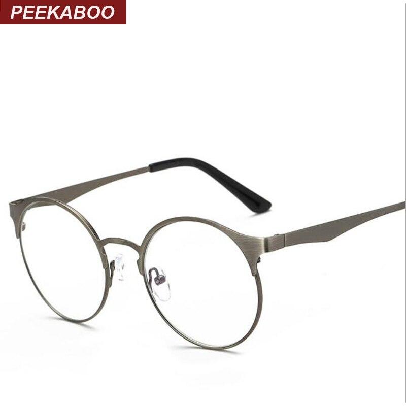Peekaboo Big 2017 retro round eyes glasses frame men women computer unisex retro round nerd glasses metal frame optical brown
