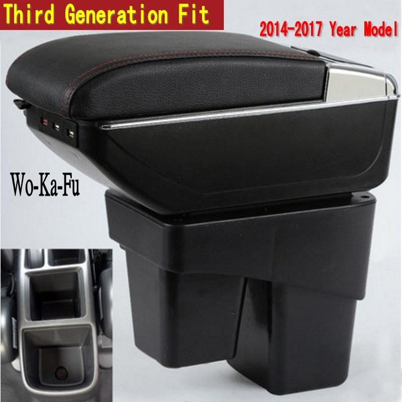 For Honda Fit Jazz 3rd generation armrest box central Store content Storage box with cup holder ashtray USB interface 2014-2017 free shipping car armrest central store content storage box with usb for honda fit 2002 2010 2016 2017 2015 2014 2013 2012 2011