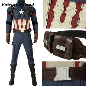 Image 3 - Avengers Endgame Captain America Cosplay costume full set Outfit Captain America Steve Rogers Jumpsuit customized 5 star Vest
