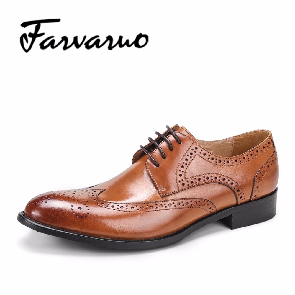Farvarwo Brogue Shoes Mens Dress Genuine Leather Oxford Black & Brown Lace-Up Male Brand Luxury Designers Breathable Bullock farvarwo brogue shoes mens dress genuine leather oxford black